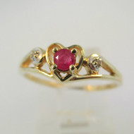 10k Yellow Gold Ruby in Heart with Diamond Accent Ring Size 7
