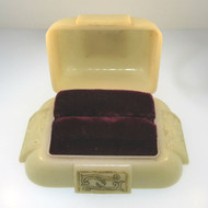 Vintage Ladies Dennison Domed Plastic Scrolled Design Double Ring Box Empty