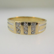 10k Yellow Gold Men's Band with White Gold and Diamond Accents Size 10 1/2