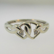 10k White Gold Heart Shaped Ring with Diamond Accents Size 6 3/4