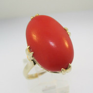 Vintage 14k Yellow Gold Red Coral Ring Size 8 3/4