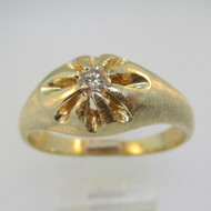 14k Yellow Gold Approx .15ct Round Brilliant Cut Diamond Ring Size 12 1/4