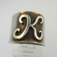 Vintage Sterling Silver Signet Ring Initial K Ring Size 4 1/2