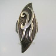 Vintage Sterling Silver Signet Initial K Ring Size 6 1/4