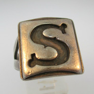 Vintage Sterling Silver Signet Initial S Ring Size 10 1/4