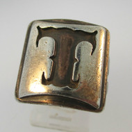 Vintage Sterling Silver Signet Initial T Ring Size 8 1/2