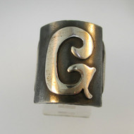 Vintage Sterling Silver Signet Initial G Ring Size 8 1/2