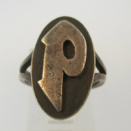 Vintage Sterling Silver Signet Initial P Ring Size 5