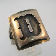 Vintage Sterling Silver Signet Initial D Ring Size 9