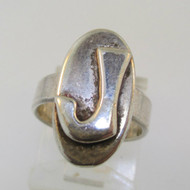 Vintage Sterling Silver Signet Initial J Ring Size 3 3/4