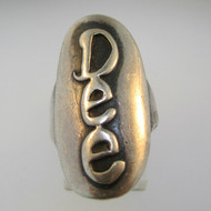 Vintage Sterling Silver Signet Initial Dee Ring Size 8