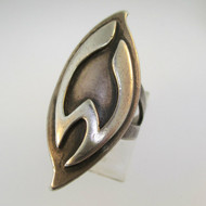 Vintage Sterling Silver Signet Initial M or W Ring Size 5