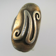 Vintage Sterling Silver Signet Initial N Ring Size 6 1/4