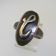Vintage Sterling Silver Signet Initial C Ring Size 7