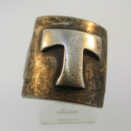 Vintage Sterling Silver Signet Initial T Ring Size 8 1/4