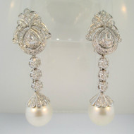 18k White Gold Approx 3.0ct TW Diamond and Rose Cut Pearl Convertible Earrings Set