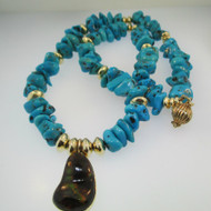 18k and 14k Yellow Gold Turquoise Necklace