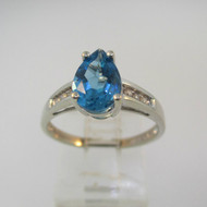 10k White Gold Pear Shaped Topaz Ring with 6 Diamond Accents Ring 7 1/4
