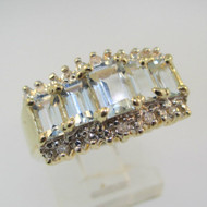 14k Yellow Gold Emerald Cut Aquamarine Ring with Diamond Accent Size 7 1/4