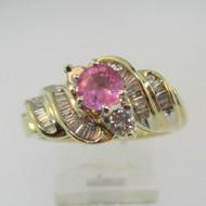 14k Yellow Gold Pink Sapphire and Diamond  Fashion Ring Size 8 1/2