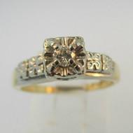 14k White Gold Emerald Cut Diamond Ring Enhancer Size 7 3/4