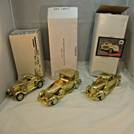 Lot of Three National Motor Museum Mint 1930s Gold Tone Model Cars with Original Boxes (100434)