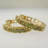 14k Yellow Gold Approx .75ct TW Natural Yellow Diamond Hoop Earrings
