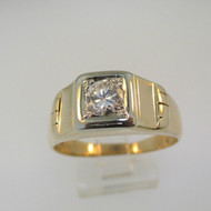 14k Yellow Gold Approx .50ct Round Brilliant Cut Diamond Men's Band Ring Size 10 3/4