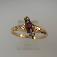 Vintage Mid - Late 1800's 14k Rose Gold Ruby Ring with Rose Cut Diamonds Ring Size 10 1/4