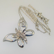 Sterling Silver Butterfly Diamond Necklace 19""