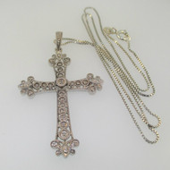 Sterling Silver Large Cross Diamond Detailed Necklace