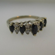 14k White Gold Marquise Cut Blue Sapphire and Diamond Band Ring Size 5