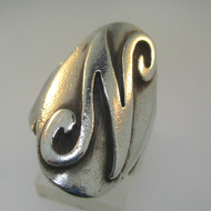 Sterling Silver Initial Monogram Signet N Ring Size 7