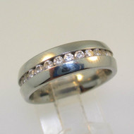 Stainless Steel CZ Wedding Eternity Band Ring Size 7
