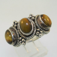 Sterling Silver Tiger Eye Three Stone Ring Size 7