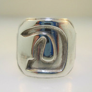 Sterling Silver Initial Monogram Signet D Ring Size 9.25