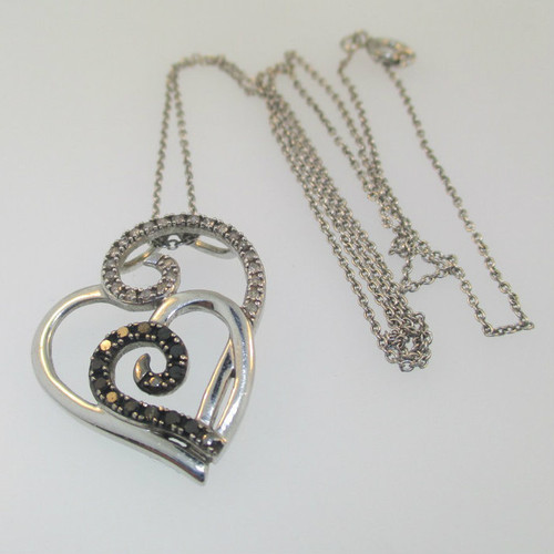 Sterling Silver Black & White Diamond Double Heart Pendant Necklace