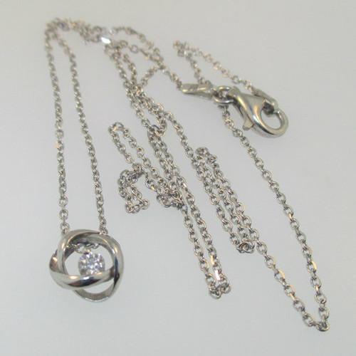 Sterling Silver Diamond .09ct Round Brilliant Pendant Necklace