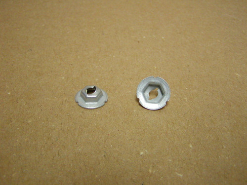 "Thread cutting nuts are found in multiple uses on the Dodge Trucks, Vans, Town Wagons, and Town Panels.  E2896 fits 3/16"" Stud size with 5/8"" Washer O.D. has a 3/8"" Hex nut"