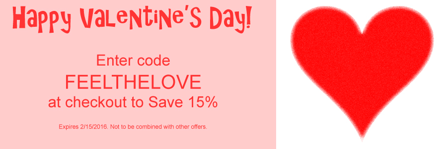 Enter Code FEELTHELOVE at checout t save 15%. Expires 2/15/16