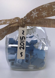 Custom Lego® 2015 Christmas Holiday Ornament - Light Blue Bricks