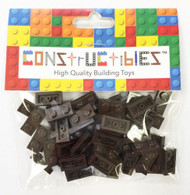 Constructibles® x50 Dark Brown 1x2 Plates 3023 - LEGO® Bulk Parts