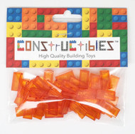 Constructibles® x50 Transparent Orange 1x2 Tiles 3069 - LEGO® Bulk Parts