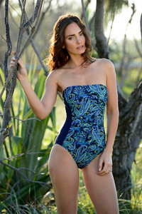 Neon Paisley Ruched Bandeau One Piece Swimsuit:  With bust support and tummy control