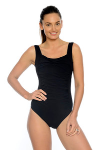 Silhouette Black Ruched Slimming One Piece Swimsuit with Tummy Control.