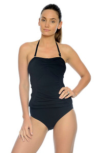 Silhouette Black Ruched Bandeau Tankini Top