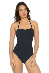 Silhouette Black Bandeau One Piece Swimsuit with ruching and tummy control