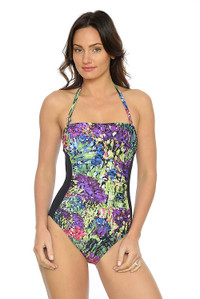 Summer Bouquet Ruched Bandeau One Piece with removable Straps