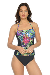 Summer Bouquet Ruched Bandeau Tankini with Removable Straps (pant sold seperately)