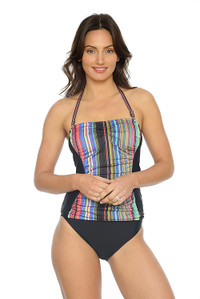 Sunset Dreams Ruched Bandeau Tankini with Removable Straps (pant sold seperately)